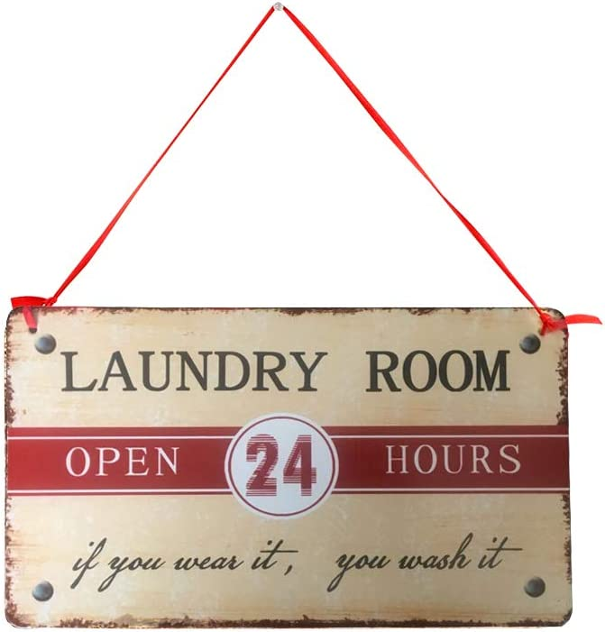 E-view Vintage Laundry Room Sign Metal Laundry Sign Rustic Laundry Wall Decor Hanging Sign for Home 8.5x5 inch
