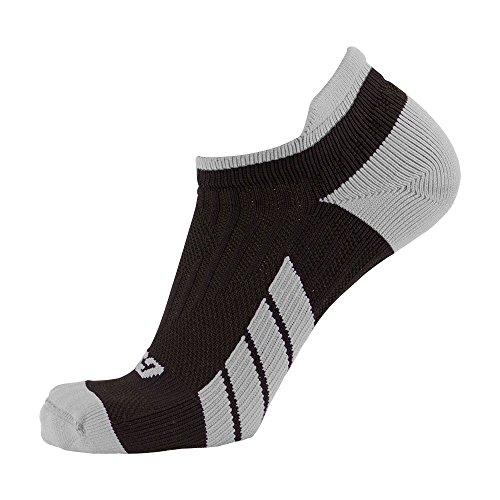 CSX Champion Low Cut Ankle Compression Socks, Silver on Black, Medium