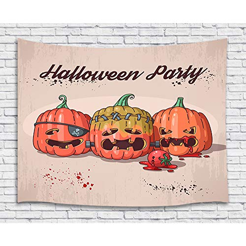 Funny Halloween Decor Tapestry, Reddish Halloween Pumpkin with Tomato Profession Art Wall Hanging for Bedroom Living Room College Dorm, TV Backdrop Wall Blankets 71X60 Inches]()