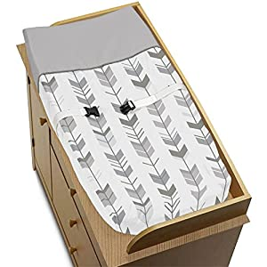 Sweet Jojo Designs Grey and White Changing Pad Cover for Woodland Arrow Collection by