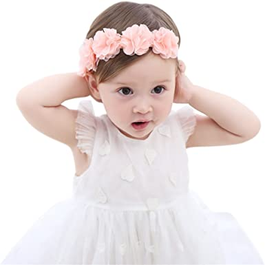 Cute Decorative Baby Girl Flower Style Plain White Pink Hat