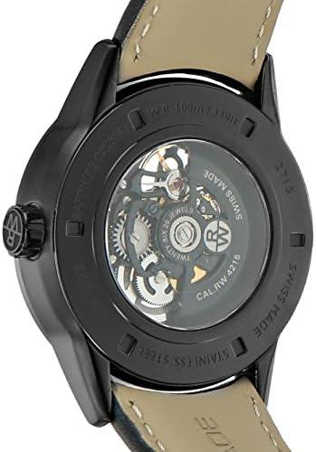 Raymond Weil Uomo 42mm Bracciale pelle nero Contenitore acciaio inossidabile automatico orologio 2715-bkc-20021