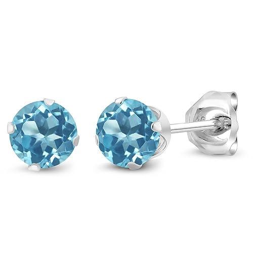 1523d69ca Amazon.com: Gem Stone King 925 Sterling Silver Swiss Blue Topaz Stud  Earrings, 0.66 Ctw Round Gemstone Birthstone 4MM: Jewelry