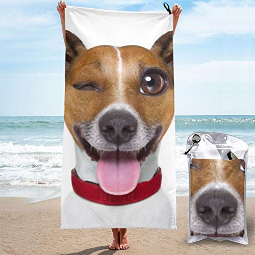 Emoticon Tongue Sticking Out (Microfiber Towel Beach Travel Multicolor 27.5x55 Inch / 31.5x63 Inch Quick Dry Compact for Swim, Pool, Boat, Beach Large 70x140cm / 80x160cm, Funny Terrier Emoticon Sticking Out The)