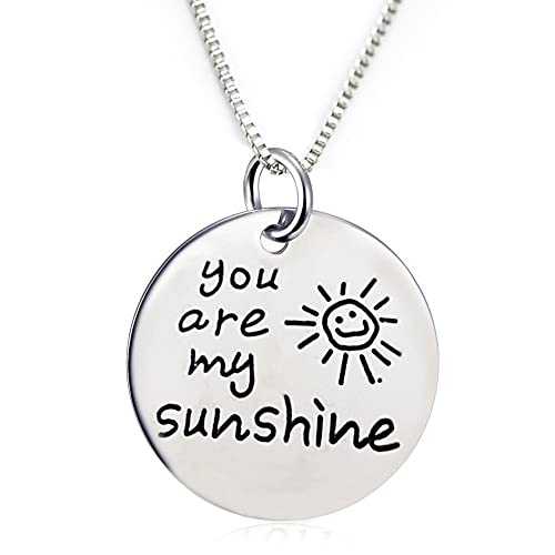 f58ec355d Inspirational Jewelry Engraved Message You are my Sunshine Quote Token Pendant  Necklace for friendship, wedding