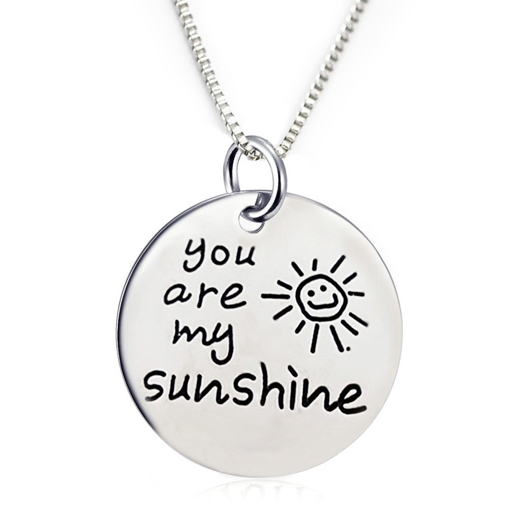 Inspirational Jewelry Engraved Message You are my Sunshine Quote Token Pendant Necklace for friendship, wedding gift jewelry for Women, Men, Teens, Girls