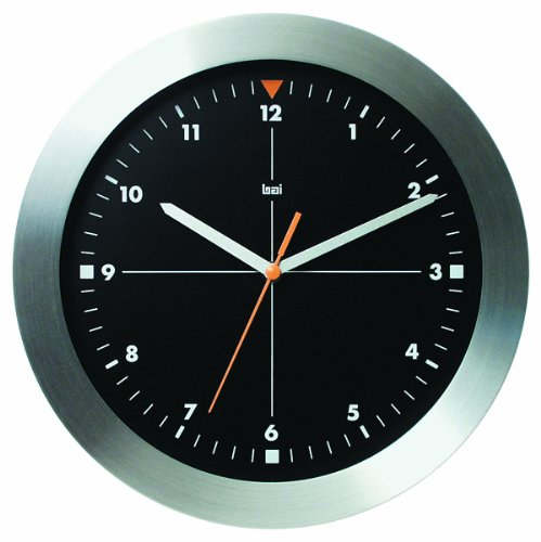 Bai Brushed Aluminum Wall Clock, Formula One Black