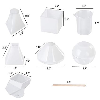 Yinroom Paquete de 6 moldes de Resina moldes Transparentes Grandes moldes de Silicona de Bricolaje toosl