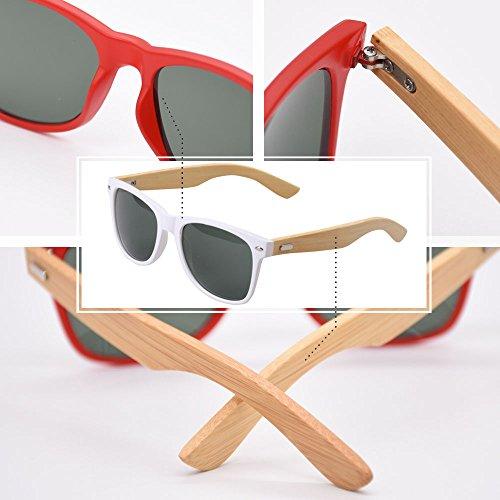 et Jambes Hommes Lunettes BOZEVON Bamboo de Femmes Blanc Mode pour soleil la à Lunettes UV400 PAwxq071