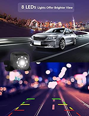 Backup Camera 8 LED Rear View Camera with HD Night Vision Car Front Rear View Backup Camera Waterproof CCD High Definition Color 170 Degree Wide Viewing Angle Mini Sized Universal Mount for Car
