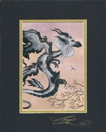 Salutations Dragon Amy Brown Black/Gold Signed Matted Print 8