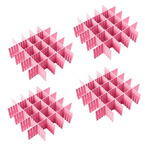 NewFerU Plastic Desk DIY Grid Drawer Dividers Adjustable Tidy Closet Shelf Storage Organizers for Purses,Ties,Tshirts,Pens,Bras,Sock,Underwear,Scarves,Makeup,Kitchen Cutlery Flatware (32pcs Pink) by NewFerU