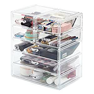 Cosmetic Storage Organizer, EZOWare Acrylic Makeup Cosmetic 7 Drawer Display Storage Organizer Box Case for Jewelry, Cosmetics, Makeup, Beauty Products and more - Clear