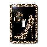 3dRose LLC lsp_21804_1 Cheetah Print Wild Woman Stiletto Pump and Diamond Bling - Single Toggle Switch