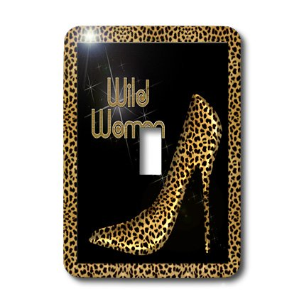 3dRose LLC lsp_21804_1 Cheetah Print Wild Woman Stiletto Pump and Diamond Bling - Single Toggle ()