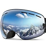 ZIONOR X Ski Snowboard Snow Goggles OTG Design for Men Women with Spherical Detachable Lens UV Protection Anti-Fog (VLT 8.4% Black Frame Polarized Silver Lens)