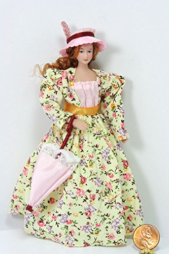 Dollhouse Miniature Victorian Lady Doll in a Cream Floral Dress with Pink Hat & Parasol