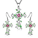 Angelady''God We Trust Cross Pendant Necklace Jewelry Gift for Women,Crystal from Swarovski (White Gold Plated)