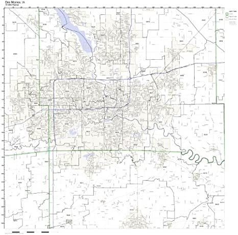 Amazon Com Des Moines Ia Zip Code Map Laminated Home Kitchen