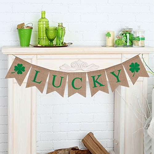 Tatuo Lucky Banner Irish Four Leaf Clover Banner Shamrock Burlap Banner Garland St. Patrick's Day Decorations