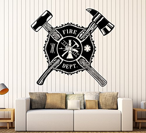 Large Vinyl Wall Decal Fire Dept Shield Firefighter Stickers Mural Large Decor (ig4449) Silver Metallic