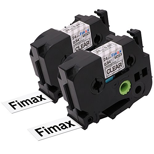 Fimax 2 Pack Standard Laminated Label Tape Cartridge Compatible for Brother P-Touch TZe-151 TZ151 TZe151 Black on Clear 0.94 Inches 26.2 Feet (24 mm/ 8 m)