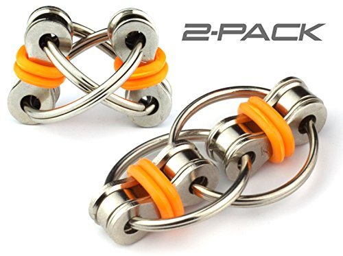 Flippy Chain Fidget Toy by Toms Fidgets - Perfect for ADHD, Anxiety, and Autism - Bike Chain Fidget Stress Reducer for Adults and Kids (Orange (2 Pack))