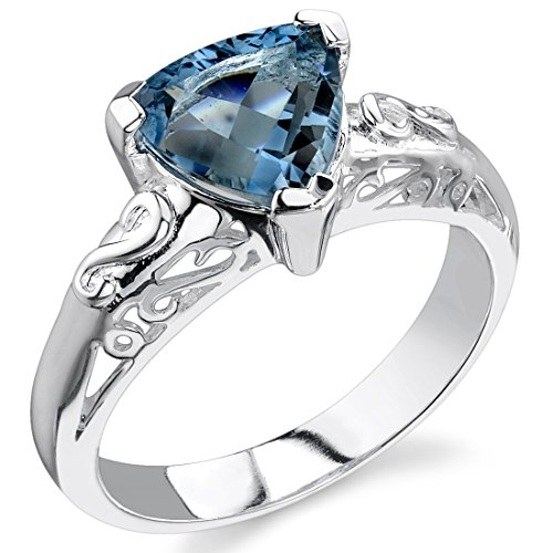 London Blue Topaz Ring Sterling Silver Trillion Cut 2.00 Carats Size 8
