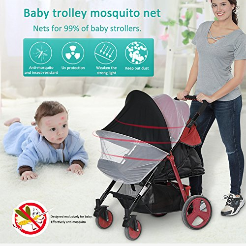 LianLe Universal Baby Mosquito Net For Stroller, Baby Stroller Universal Mosquito Net Sun Shade Anti-UV Foldable Mosquito Net, Pram Bed Cot Car Seat & Pushchair Baby Stroller Insect Net by LianLe (Image #6)