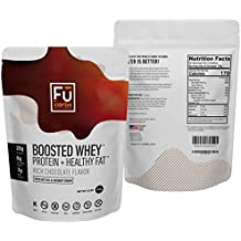 Fū Carbs Boosted Whey Protein Isolate Powder w/Organic Coconut Cream & MCT Oil Powder, All Natural, No Fillers, for Ketogenic Diet, Body Building, Fitness, Energy, Carb Free Health. 32oz Chocolate