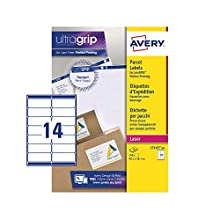 Avery - Etiquetas autoadhesivas para correo, impresoras láser, 14 etiquetas por hoja A4, 140 etiquetas, UltraGrip (L7163), color blanco