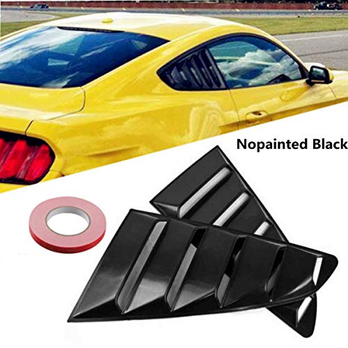 - Gavita-Star - 1Pair 1/4 Quarter Car Side Window Scoop Louvers Vent Visors ABS Plastic Black for ford for Mustang Fastbacks 2015-