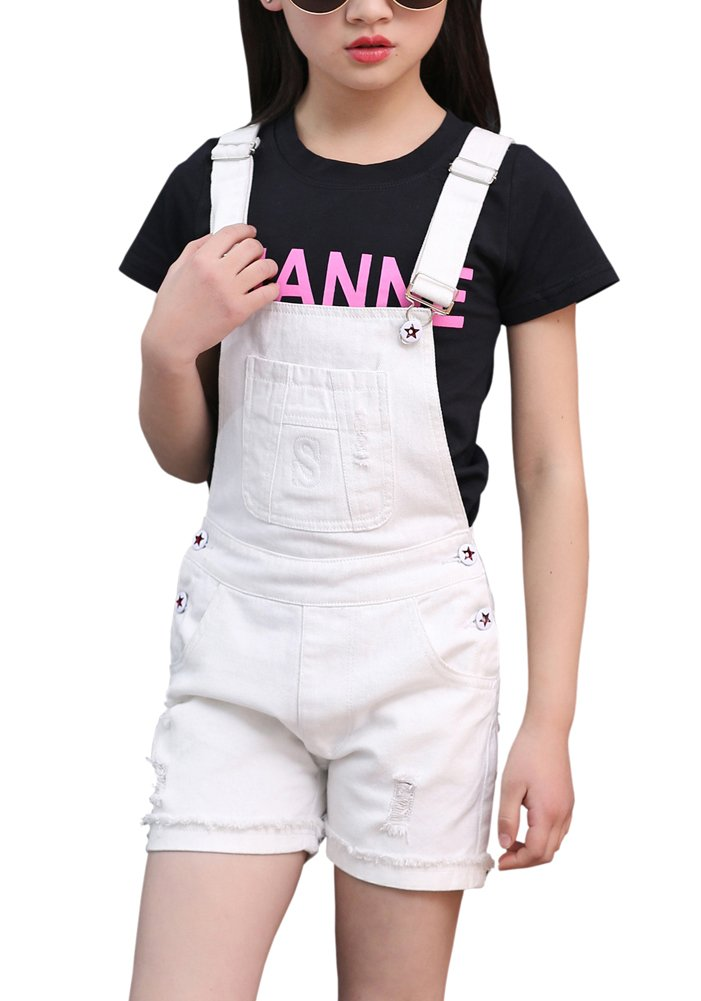 Kids Ripped Holes Denim Jeans Shorts Bib Romper Overalls Jumpsuit Shortalls for Little & Big Girls, White 9-10 Years=Tag 160