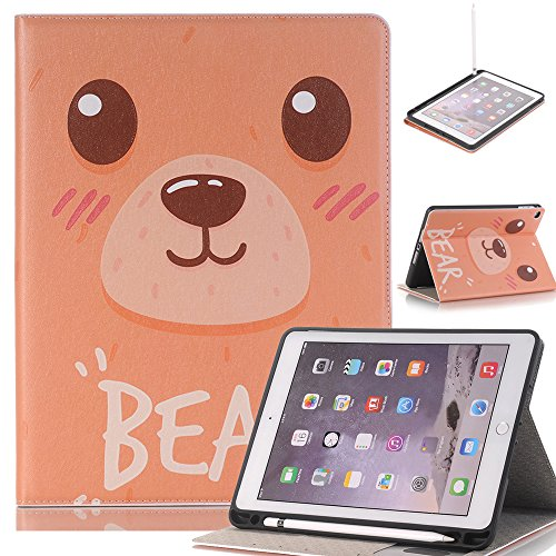 "Price comparison product image JiiJian iPad Air Protective Case for Kids, 9.7"" Premium Leather Folio Stand Protective Cover, Smart Case with Dearl Viewing, Paperwork Card Card Slot - Bear"