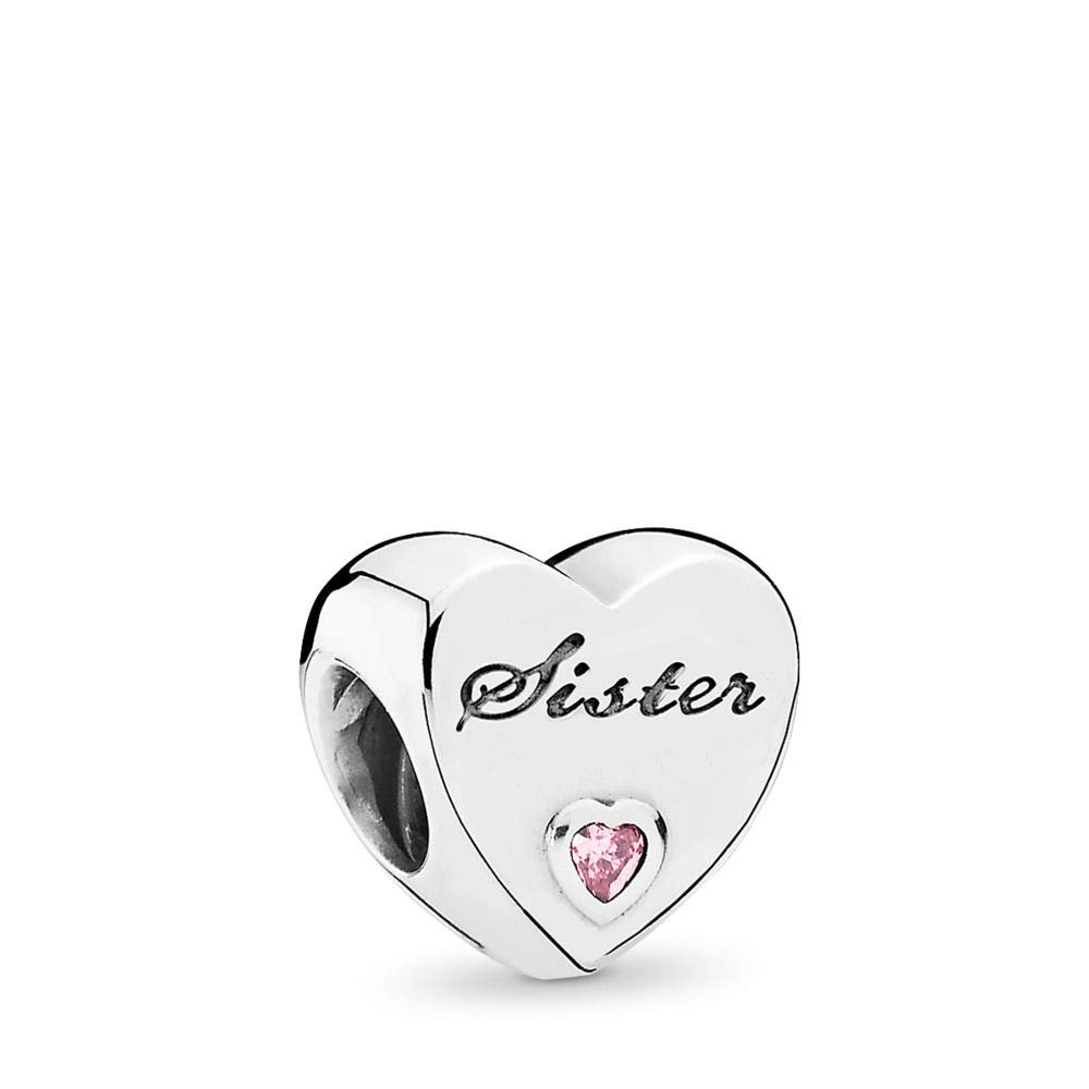 PANDORA Sister'S Love Charm, Sterling Silver, Pink Cubic Zirconia, One Size by PANDORA