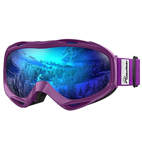 OutdoorMaster OTG Ski Goggles - Over Glasses Ski / Snowboard Goggles for Men, Women & Youth - 100% UV Protection (Purple Frame + VLT 15.5% Grey Lens with Full REVO Blue)