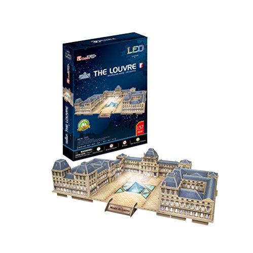 CubicFun L517h The Louvre (with LEDs) World's Great Architectures Paris France 3d Puzzle, 137 (French Halloween Puzzle)