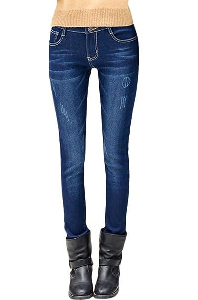 DoreKim Womens Stretch Slim Jeans Forrados de Lana Pantalones Casuales de Mezclilla Skinny # 6010