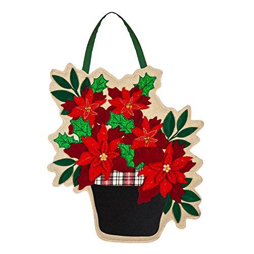 Evergreen Poinsettia Basket Outdoor Safe Door Hanger