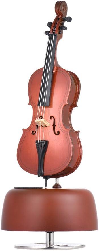 ammoon Clásico Violación de Violonchelo Caja de Música Con Rotación Base Musical Instrument Miniature Regalo de Artware de la Reproducción: Amazon.es: Instrumentos musicales