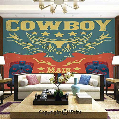 Lionpapa_mural Removable Wall Mural Ideal to Decorate Your Living Room,Event Poster Design Traditional Cowboy Shoes Abstract Bulls Head Rodeo Decorative,Home Decor - 100x144 inches