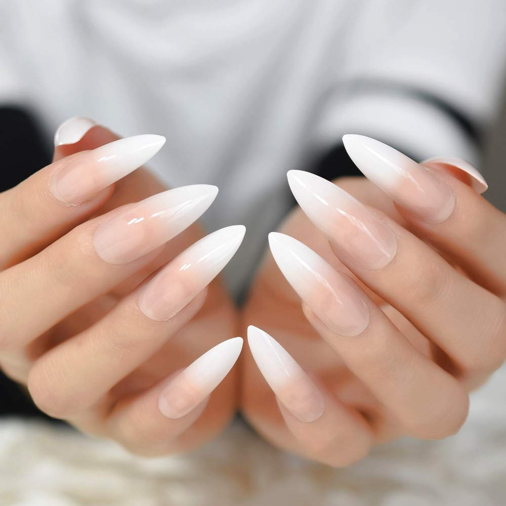 Ombre Extra Long French Nail Extreme Stiletto Sharp Gradient Nude White 24 Fake Nails Acrylic Nails Manicure Tips 24 pcs