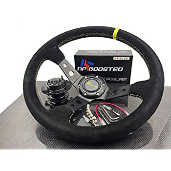 Red Slit Holes Spoke 3.5 Deep Dish Steering Wheel U043+Red Hub+Black Quick Release Works with Acura 94-01 Integra//Honda 92-95 Civic//93-97 Del Sol