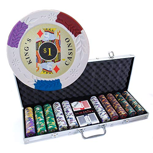 500 Count Kings Casino Poker Set - 14 Gram Clay Composite Chips with Aluminum Case, Playing Cards, & Dealer Button for Texas Hold'em, Blackjack, & Casino Games by -
