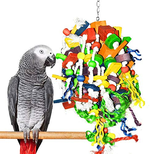Parrot Chewing Toys – Extra Large Wooden Blocks Nibbling Keeps Beaks Trimmed Attract Pet's Attention for Large Medium…
