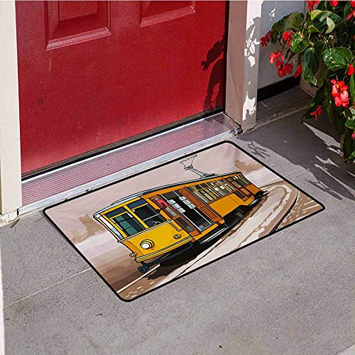 Jinguizi Modern Inlet Outdoor Door mat Yellow Train on Rail Roads Winter Scenery Old Suburban Illustration Catch dust Snow and mud W19.7 x L31.5 Inch Yellow and Pale Brown