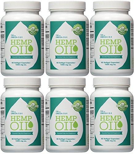 Manitoba Harvest Hemp Oil, 1000Mg, 60 Softgels(Pack of 6) (Hemp Manitoba Oil Harvest Seed)