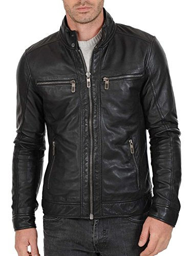Leather Bomber Motorcycle Jacket - 8