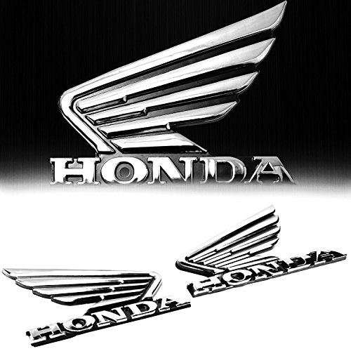 "(Pack of 2) 3.5"" x 2.75"" 4mm Thick 3D Emblem Decal Honda Wing Logo Fender Sticker - Chrome"