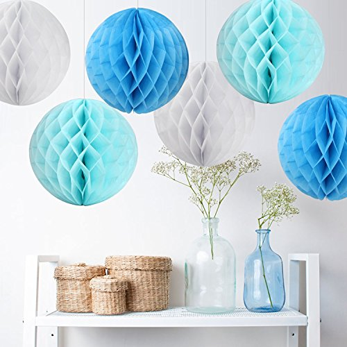 15CM Honeycomb Balls Tissue Paper Ball Honeycomb Decorations DIY Tissue Paper Balls for Party Decoration Wedding Bridal Shower Garden Decoration,Pack of 6(Sky Blue,Write,Light (Paper Honeycomb Ball)